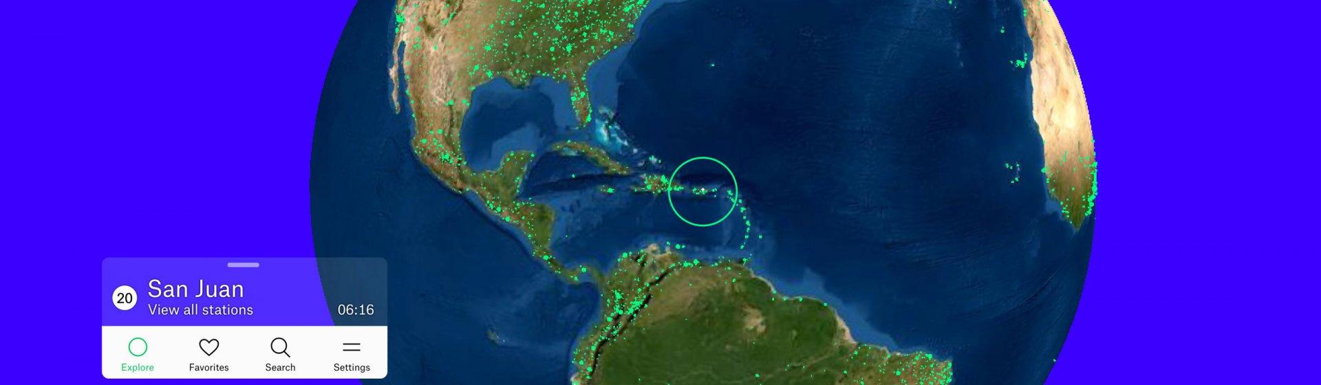 Weltkarte mit Mittelpunkt Mittelamerika