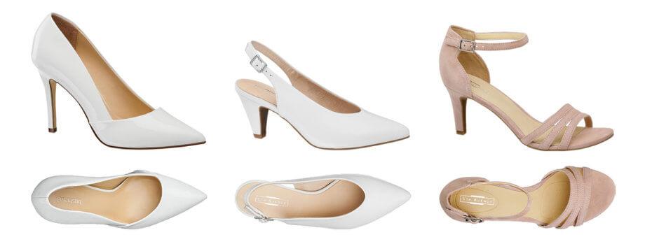 Bíle lodičky na vysokém podpatku, bílé lodičky s otevřenou patou, růžové páskové sandály na podpstku