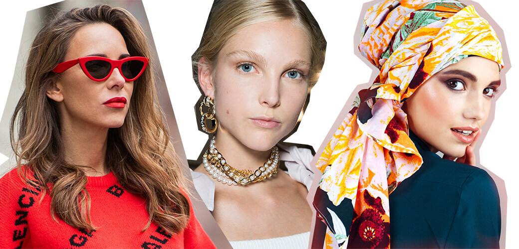 Sommer-Styles Sonnenbrille, Goldschmuck, Turban