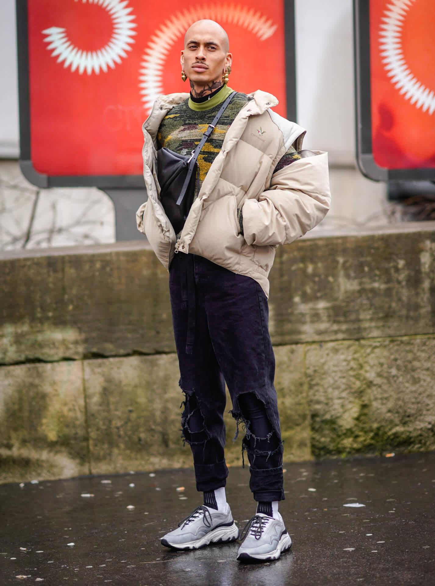 Steppjacke Männer Streetstyle Shoe Fahion