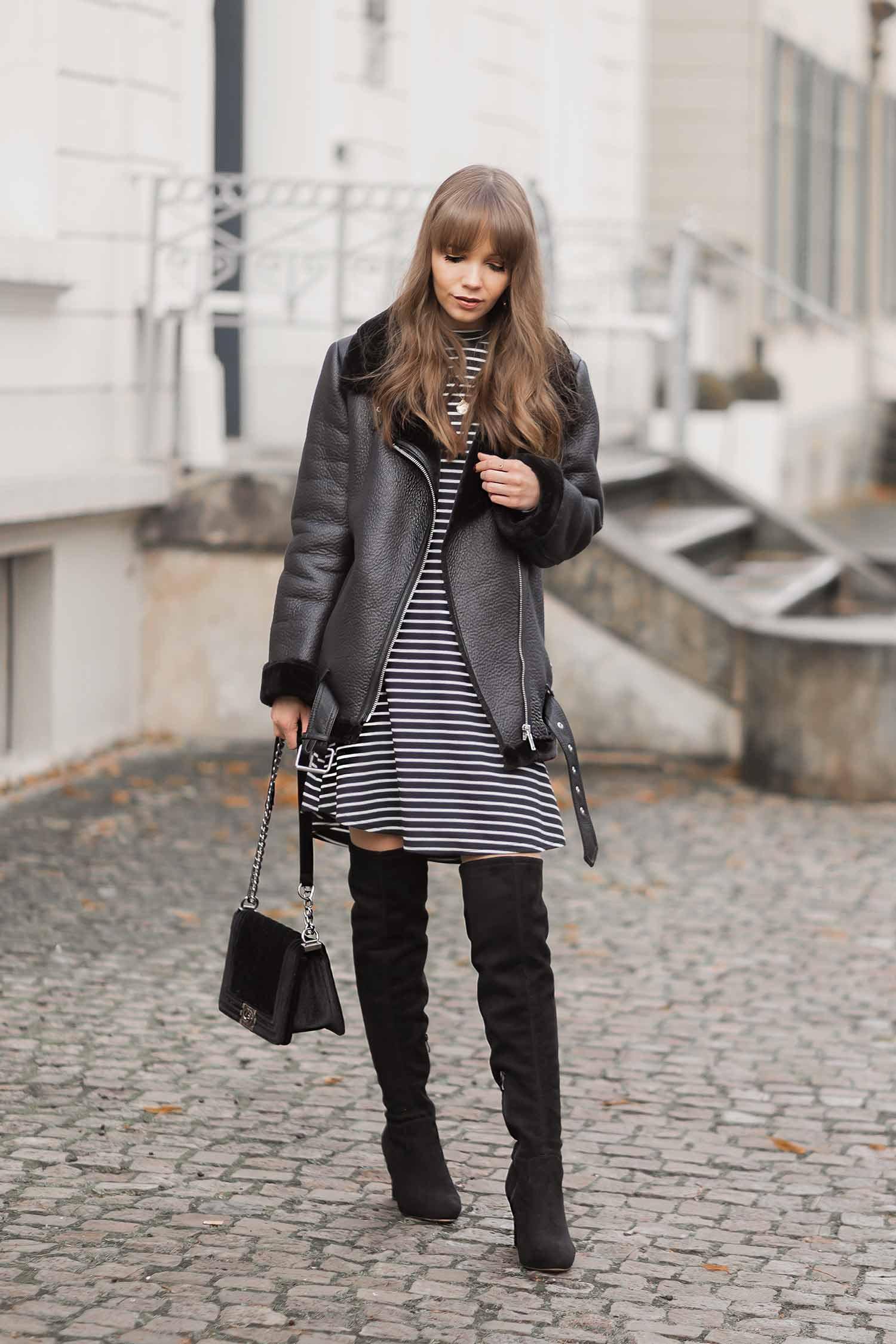 Rollkragenkleider im Winter stylen, Overknee Stiefel, Shoelove by Deichmann