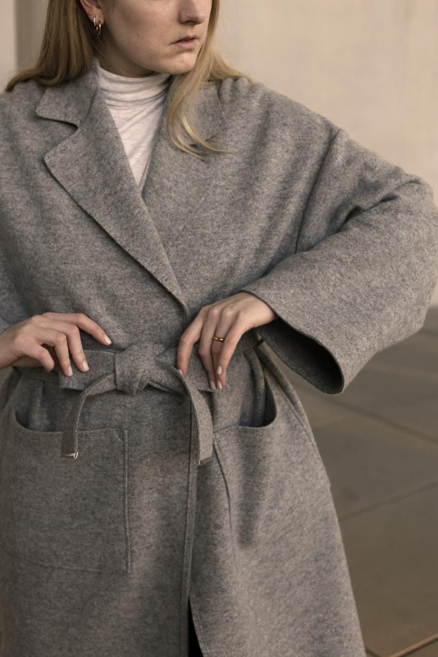 Übergangsmantel aus Wolle Detail Front