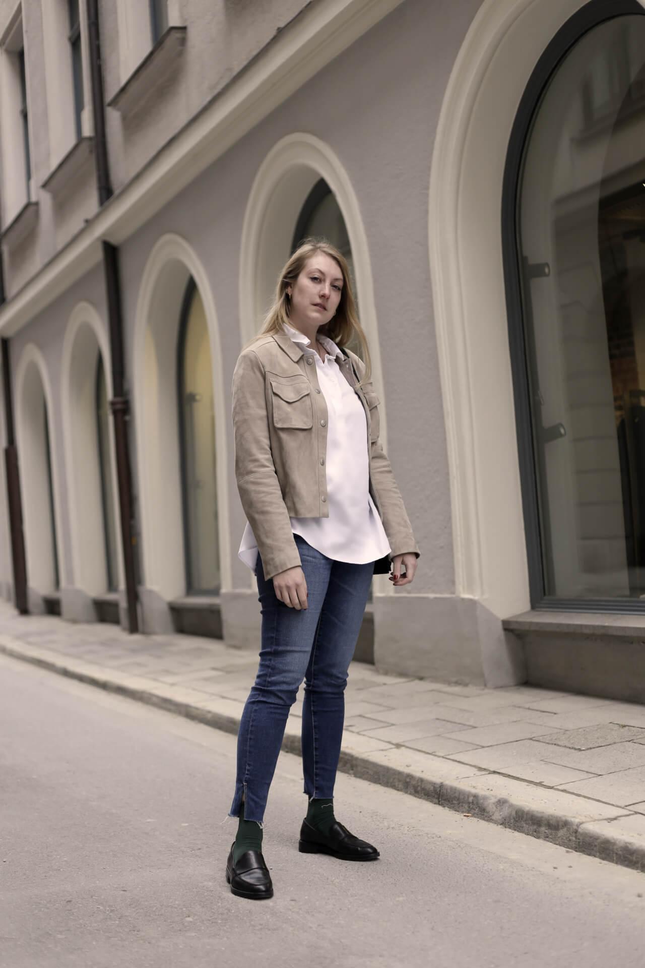 Weiße Bluse Frühlingslook Klassiker Komplettlook