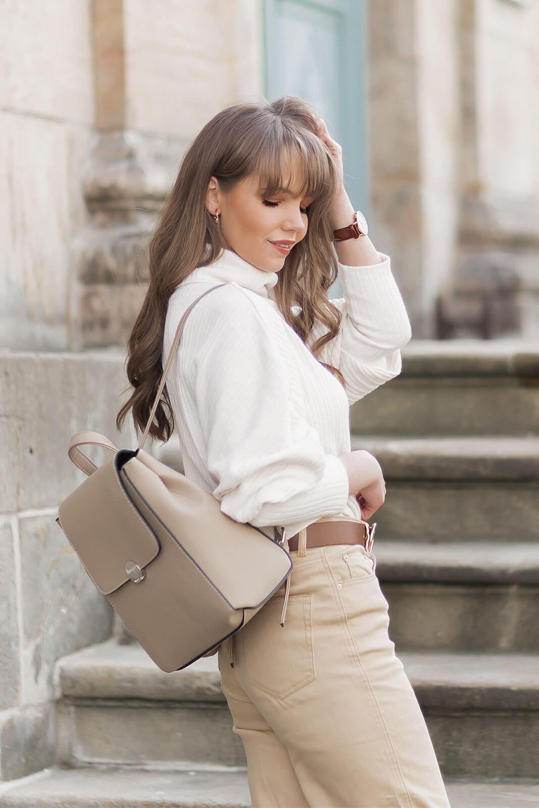 Elegante Rucksäcke, Taschen Trend, Rucksäcke schick stylen, Jeans Culotte, Pumps in Kroko-Optik, Shoelove by Deichmann