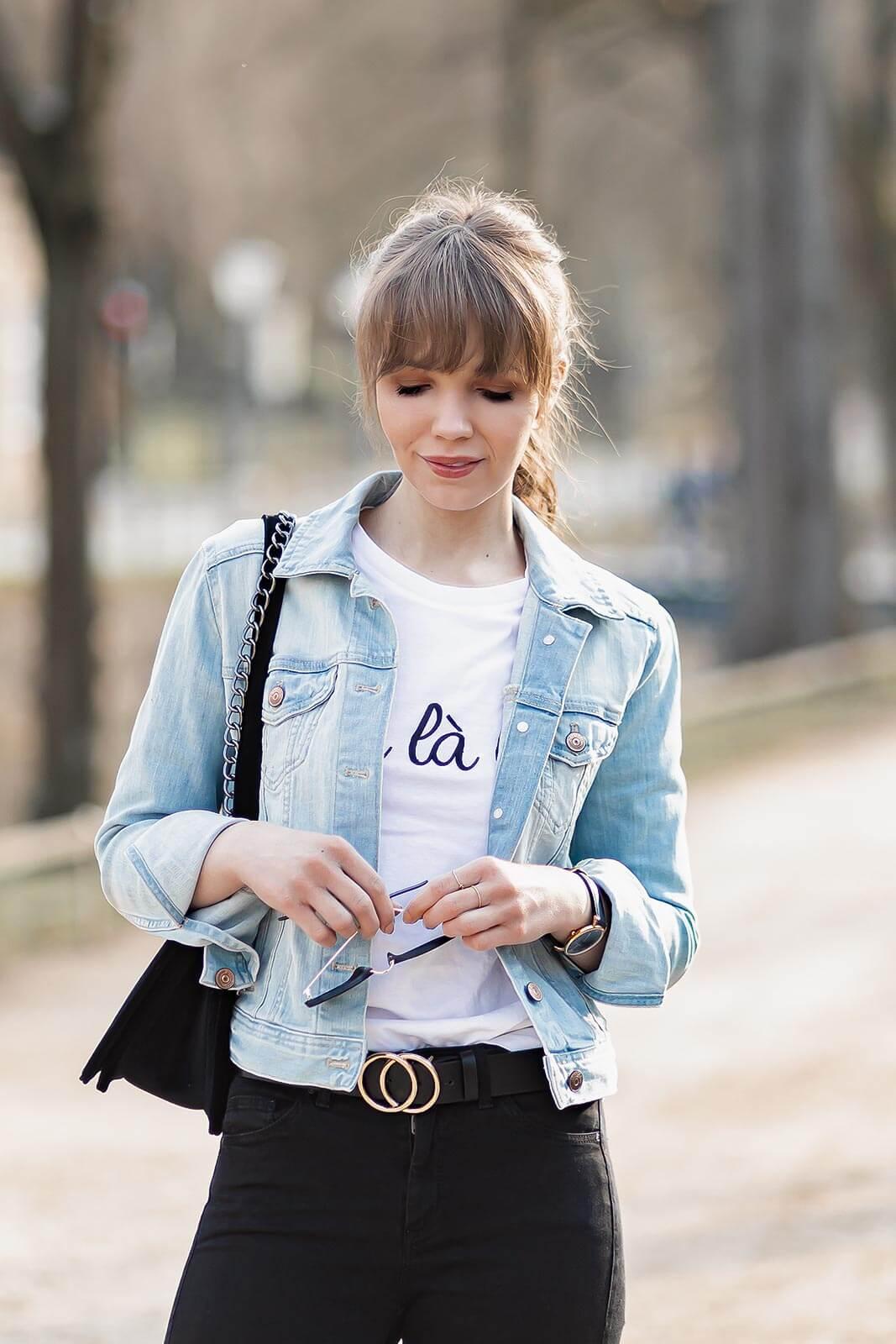 Schwarze Skinny Jeans, Styling-Tipps, sportliches Frühlingsoutfit, Chunky Sneaker, Shoelove by Deichmann