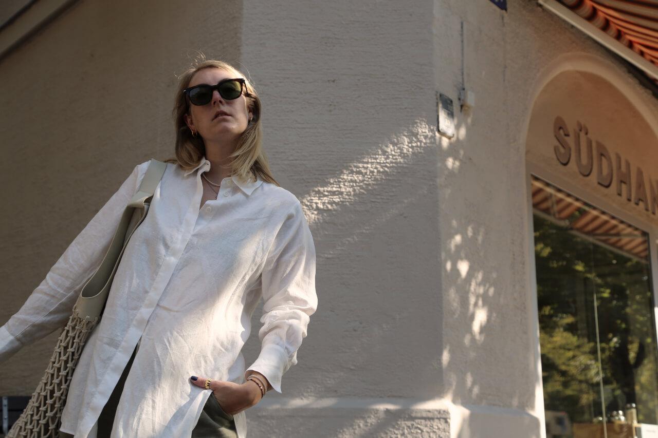 Oversized Hemd und Cateye Sonnenbrille