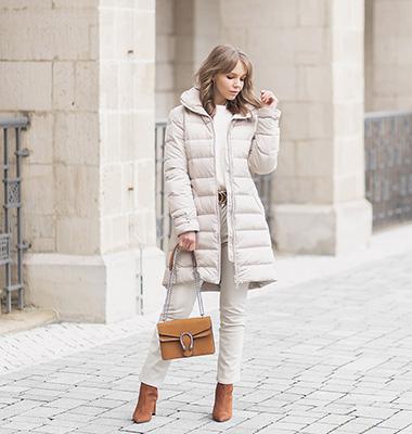 Mode Trends 2021, Winteroutfit mit Puffer Jacke und Lederhose, Shoelove by Deichmann