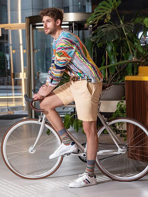 Safari Look Deichmann, Sneaker und Fahrrad