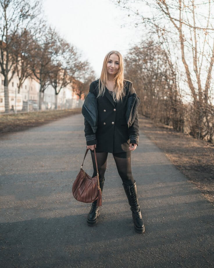 Hohe Schnürstiefel Frühling Outfit