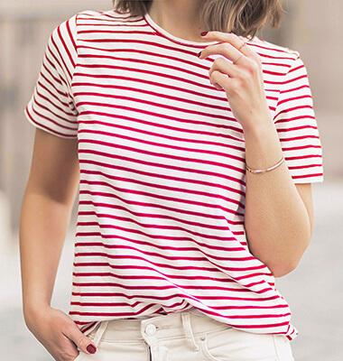 Streifen Shirts im Frühling kombinieren mit weißer Jeans und Stoffschuhen, Shoelove by Deichmann