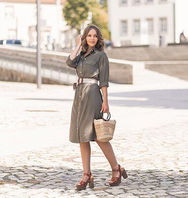 Olivgrün im Sommer stylen, Trendfarbe Grün, Hemdkleid, Plateau Sandalen, Shoelove by Deichmann