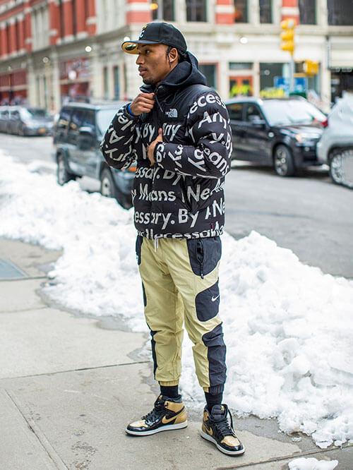 Sportlicher Look mit Statement Sneakern, Streetstyle aus New York
