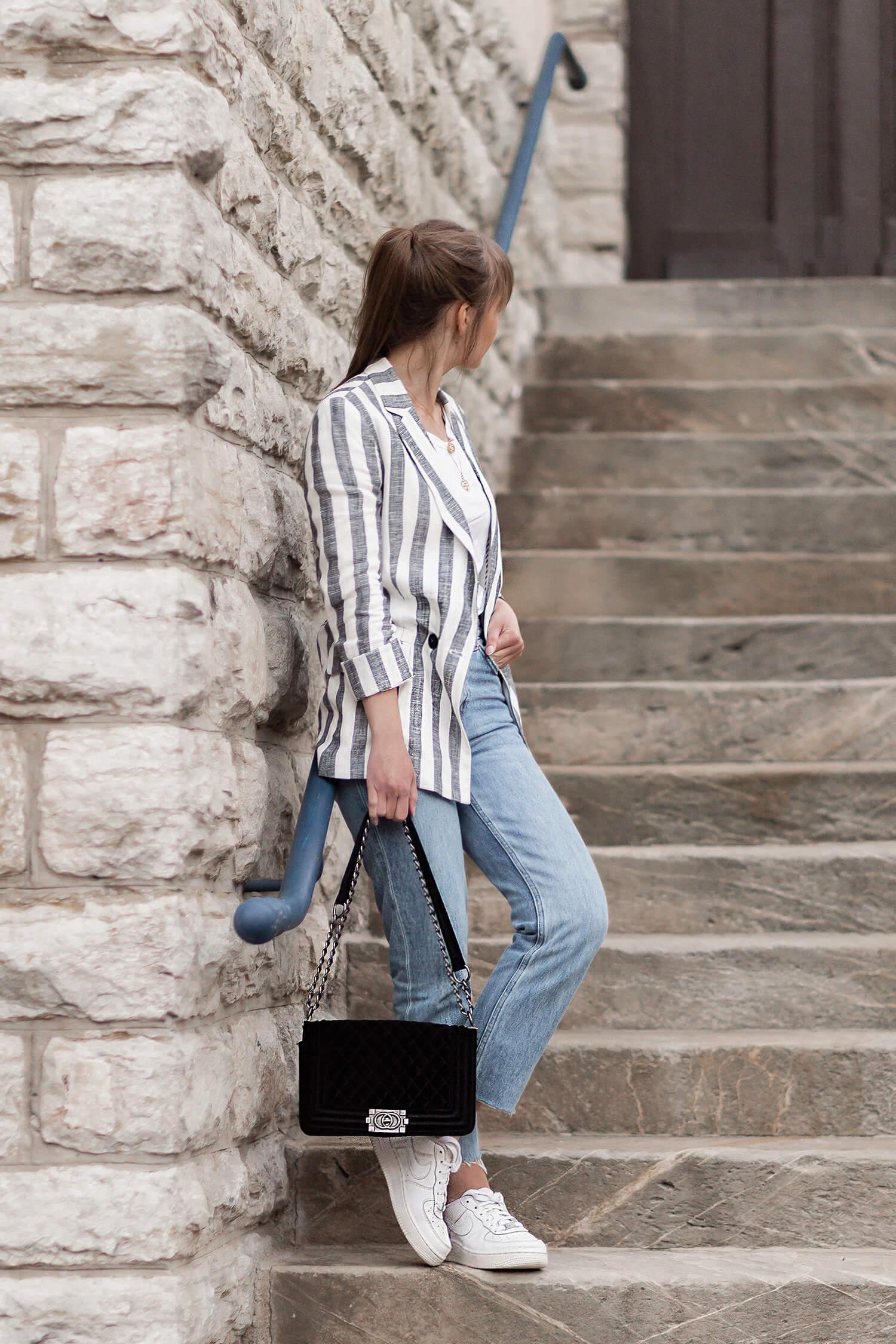 Blazer mit Streifen sportlich stylen, Leinenblazer Outfit, Shoelove by Deichmann
