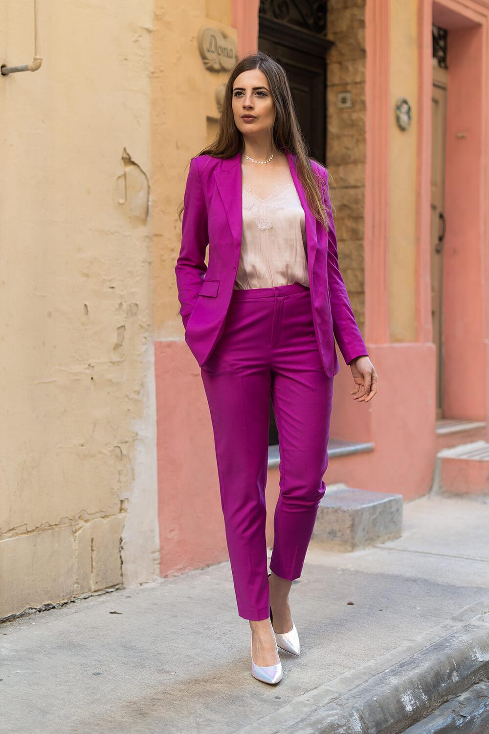 Millennial Pink-Magenta Anzug-Modeblog-High Heels-andysparkles.de