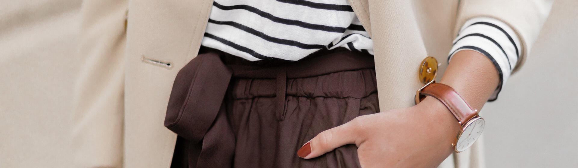 Paperbag Hosen im Herbst stylen, Herbstoutfit mit brauner Paperbag Hose, Shoelove by Deichmann