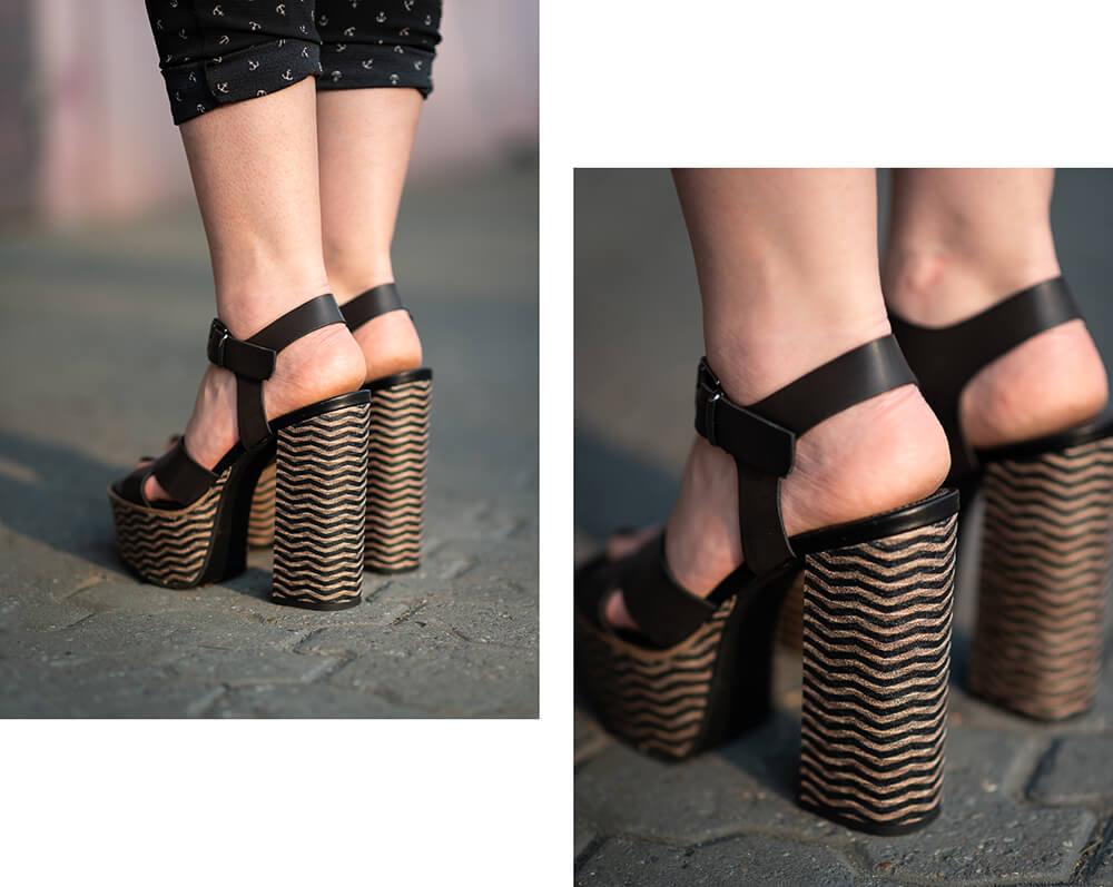 Vintage Lederjacke-XXL Fransen-Sommer Look-Plateau Sandaletten-Shoelove by Deichmann-Modeblog-andysparkles