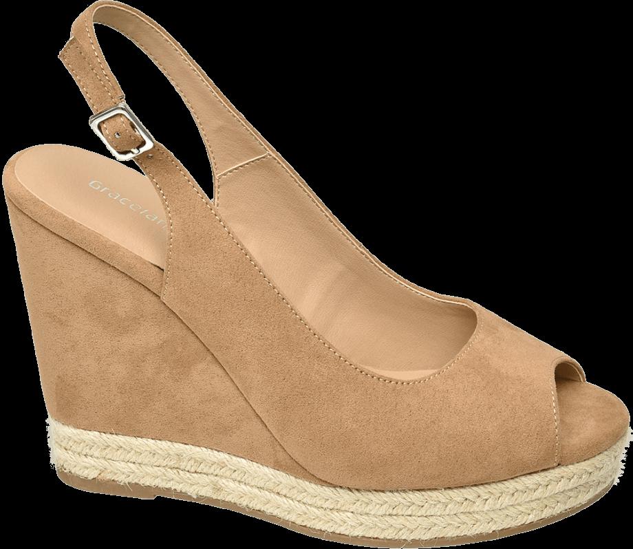 Sandalia de cuña peep toes