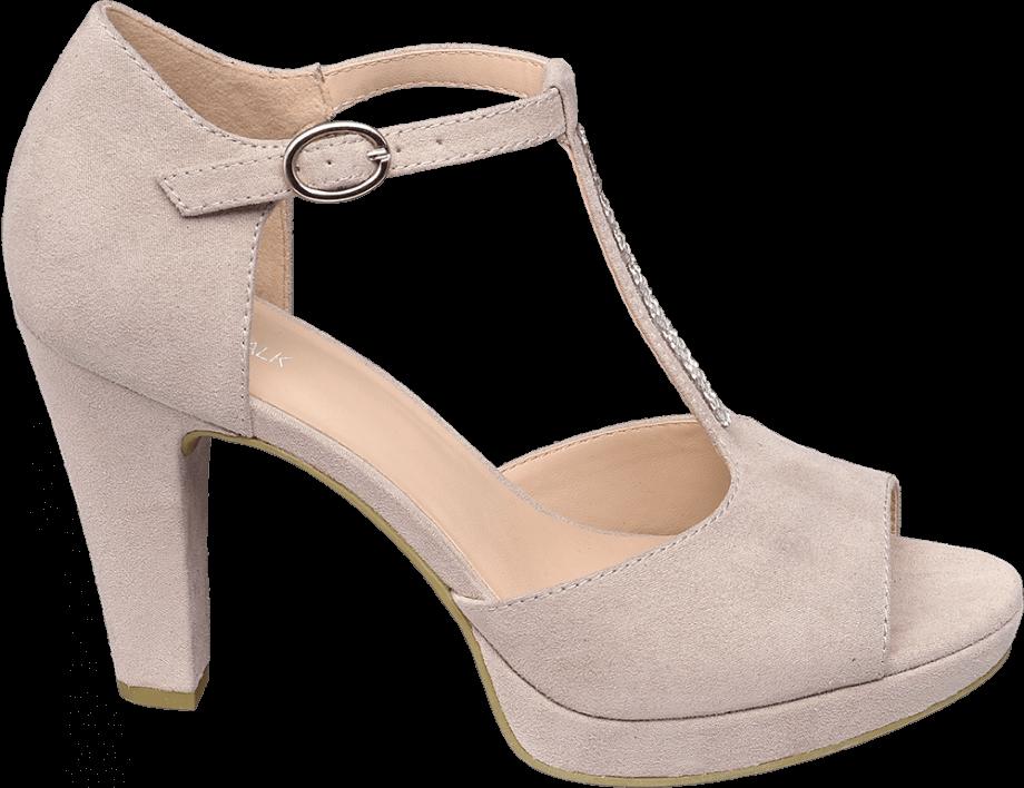 Sandalia de tacón con tiras verticales
