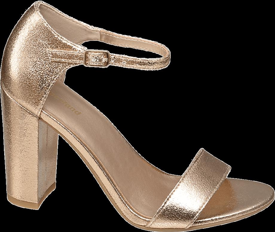 Sandalia de tacón metalizada
