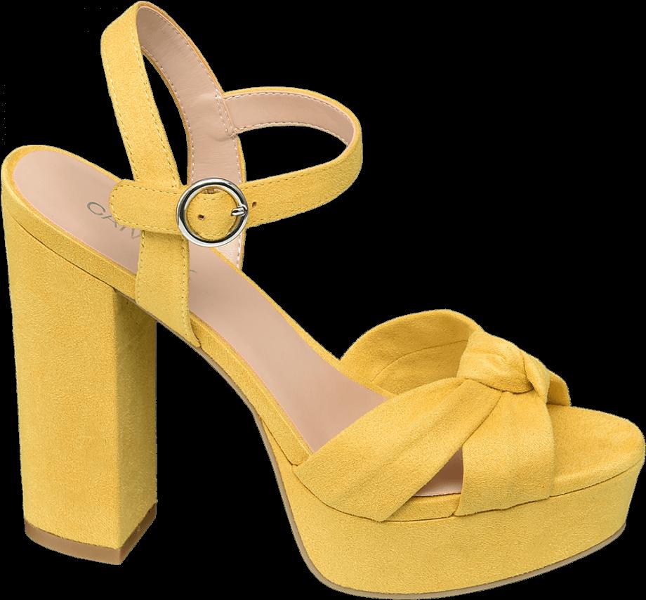 Sandalia tacón amarillo