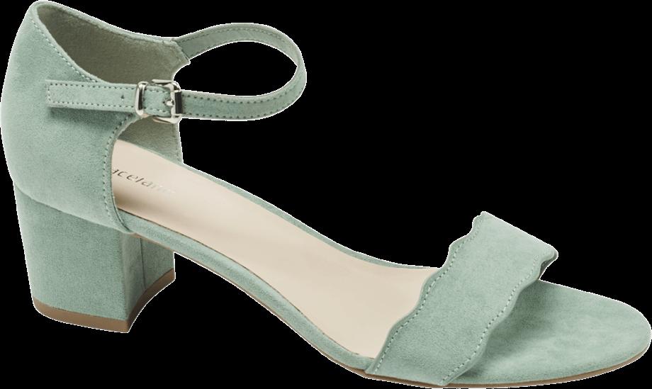 Sandalia tacón medio color pastel