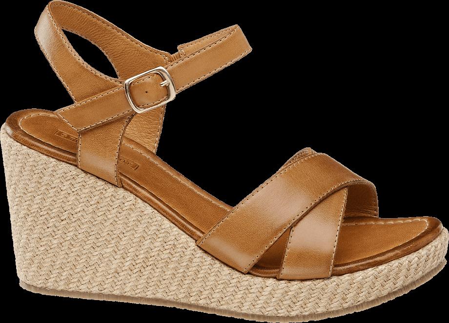 Sandalias cuña marrón