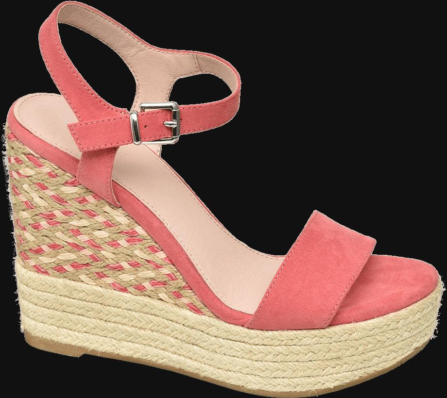 Sandalias cuña color rosa