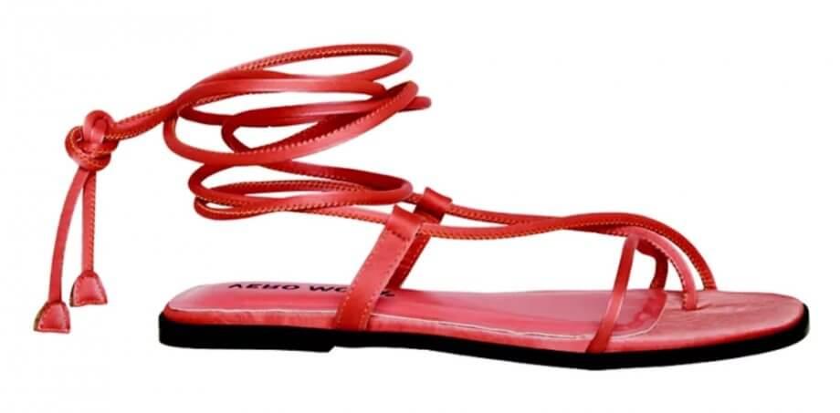 Sandalias dedo tiras rojo