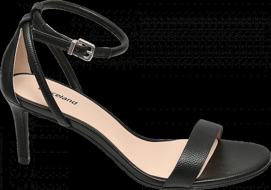 Sandalias negras tacón fino