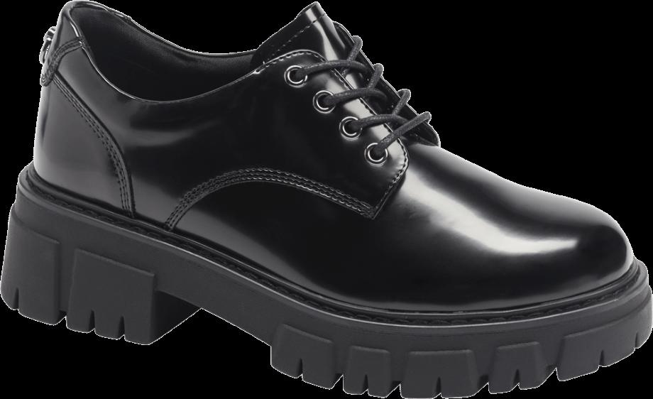 Zapato plano oxford con plataforma de color negro