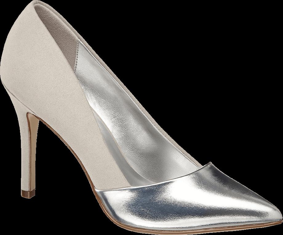 Zapato de tacón fino plateado