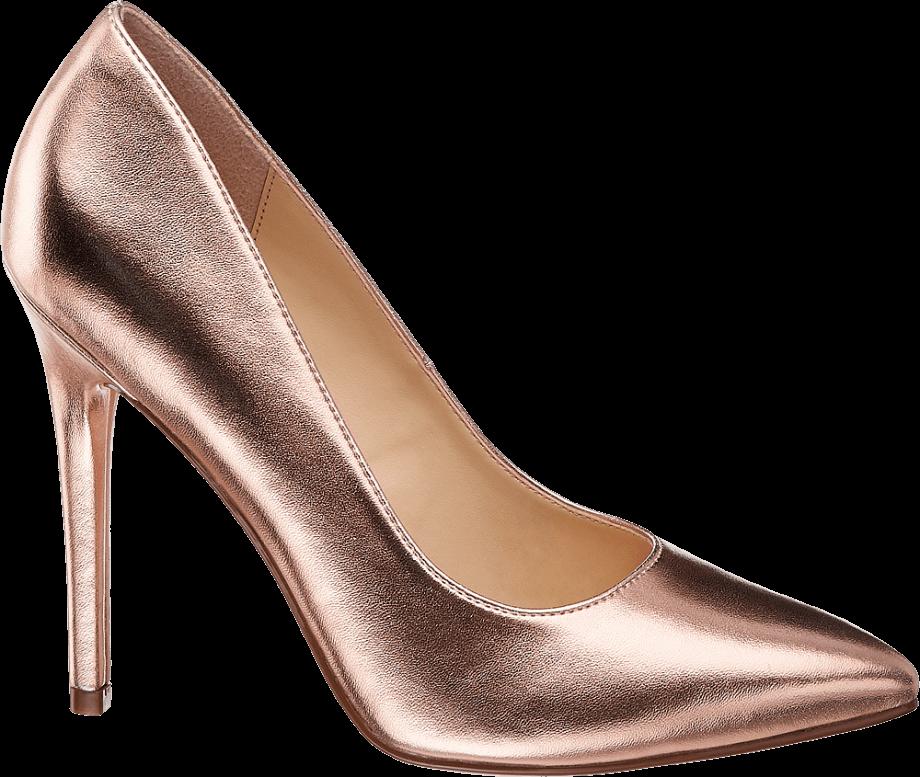 Zapato de tacón fino rosado brillante