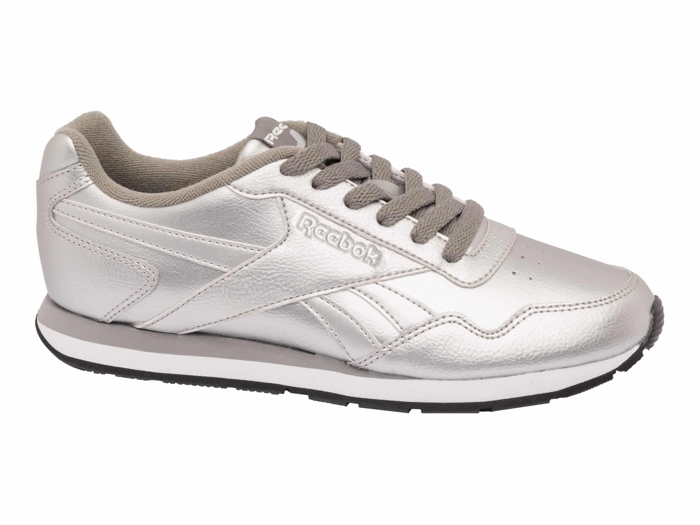 50d29d5075514 Give your weekend look a lift with a pair of retro Reebok silver metallic  trainers. Channelling the 90s trend and the metallic trend in one easy  step, ...