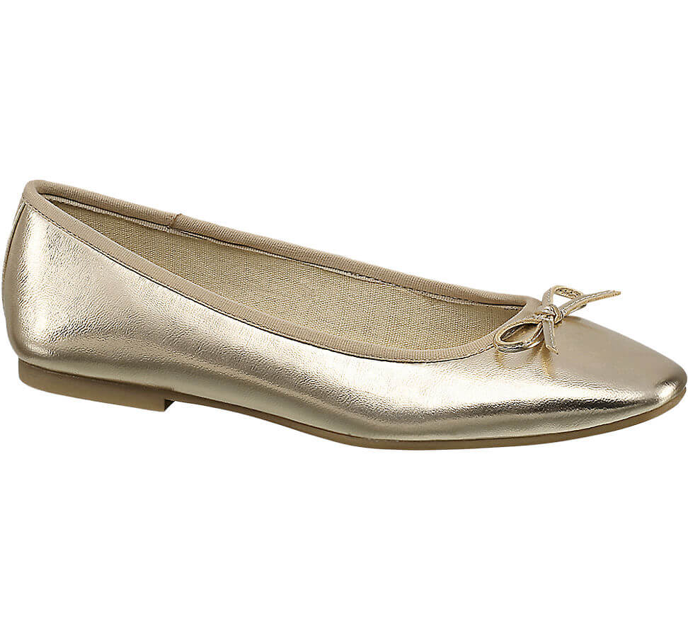 ea846975ae6fd Slip into this pair of razor sharp gold ballerinas for an elegant, on trend  finish to your office outfit. Versatile ...