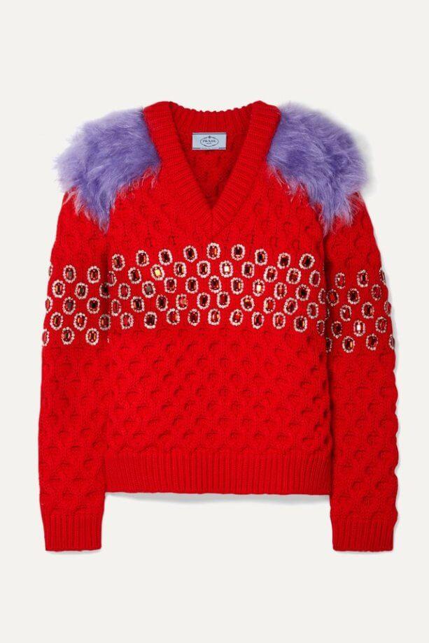 maglioni natalizi - maglione rosso con pietre e inserto di eco pelliccia viola