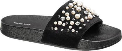 Ciabatte mare nere con aplicazioni di strass e perle Graceland, Deichmann