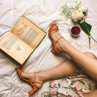 sandali da donna - sandalo arancione con punta quadrata, Deichmann