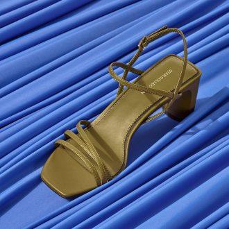 sandali da donna - sandalo verde con punta quadrata, Deichmann