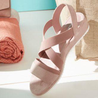 sandali bassi 2020 - sandalo rosa cipria con zeppa, Deichmann