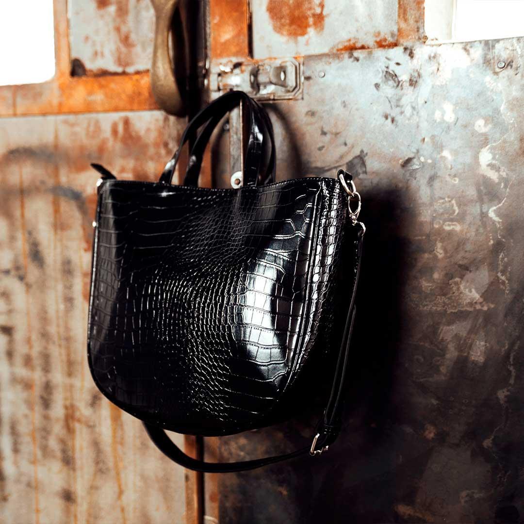 borse autunno shopper nera animalier con manici e tracolla