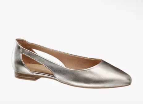 trend metallico, ballerine argento Deichmann