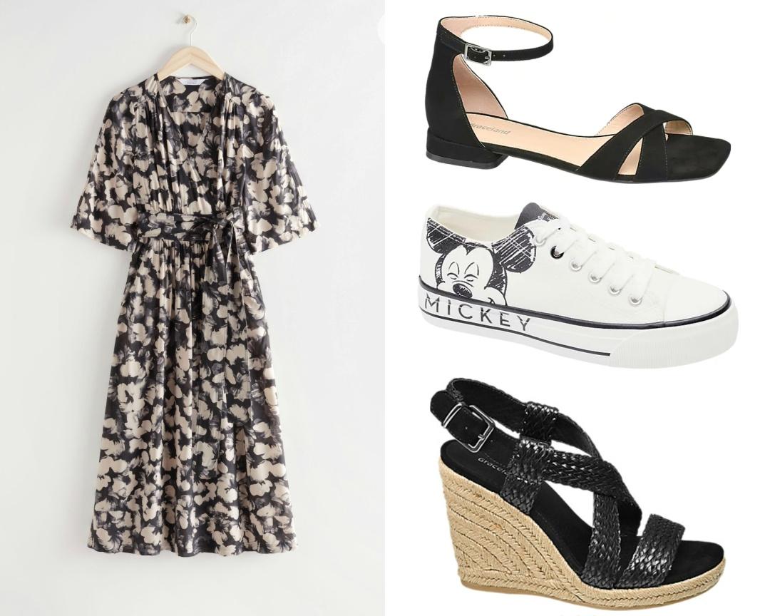 vestito bianco nero e scarpe