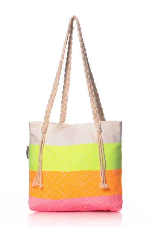 Borse mare - Shopper con dettagli fluo e manici in corda