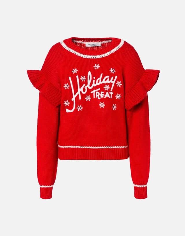 maglioni natalizi - maglione rosso con scritta bianca Holiday treat