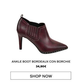 Rita Ora for Deichmann - Ankle boot bordeaux con borchie, Deichmann