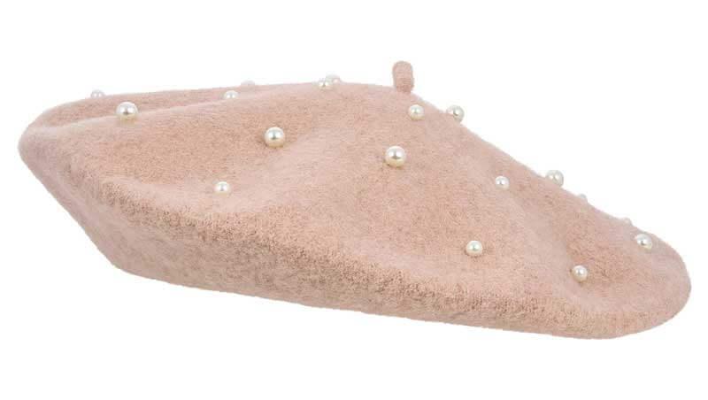 Cappelli invernali - basco in stile parisienne rosa cipria con perle