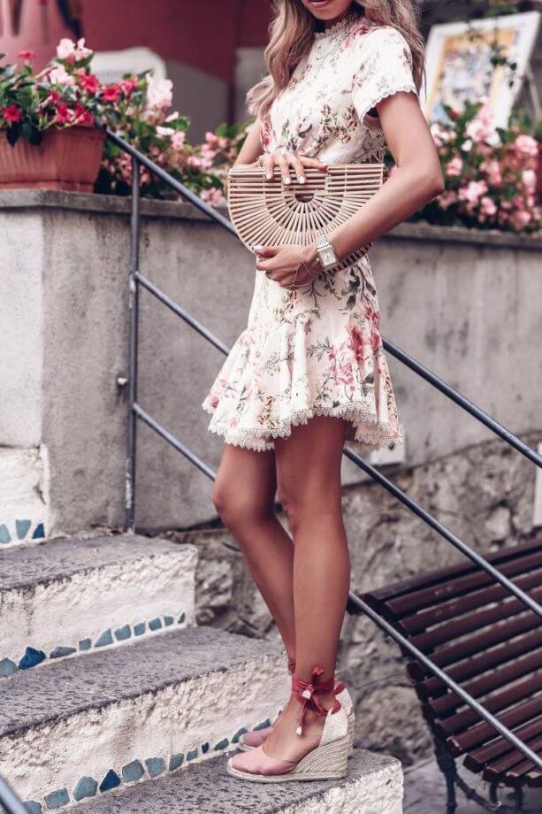 Zeppe in corda - Espadrillas rosa antico con zeppa