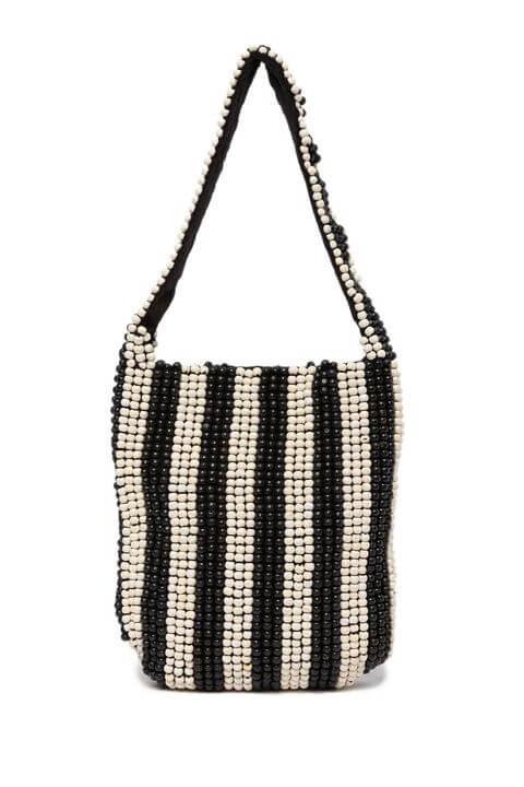 Borse mare - borsa con perline bianco e nere