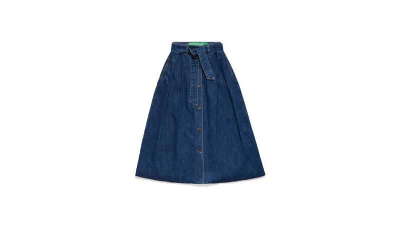 Denim skirt - gonna lunga con fiocco, Benetton
