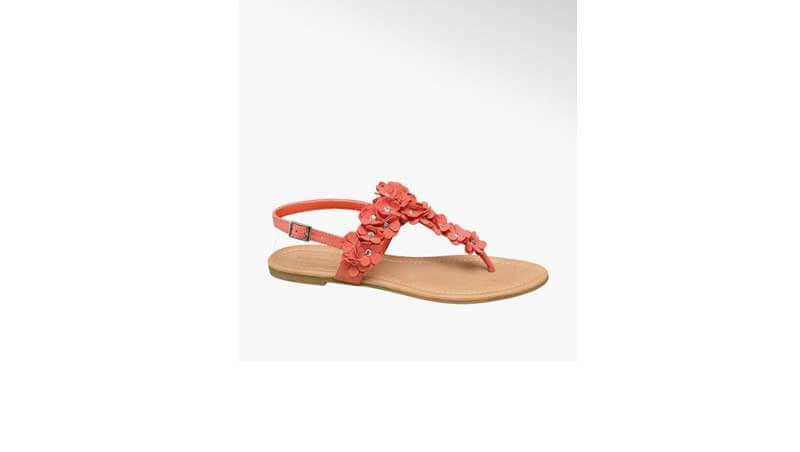 Sandali bassi da donna - infradito corallo con dettaglio floreale, Deichmann
